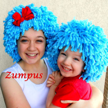 Thing 1 Thing 2 Wigs- 2 Bright Blue Wigs- Red Bow- Halloween Costumes
