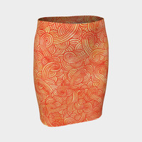 Orange and red swirls doodles Fitted Skirt Fitted Skirt