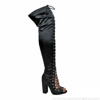 Black Thigh Lace Up Chunky Heel Boot