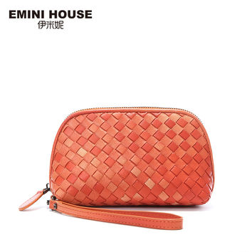 EMINI HOUSE 3 Colors Fashion Sheepskin Hand-Woven Knitting Women Clutch Bags