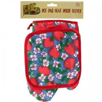 Quilted Fruit & Floral Print Oven Mitt & Pot Holder Set