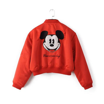 Red Letter Cartoon Embroidery Short Jacket