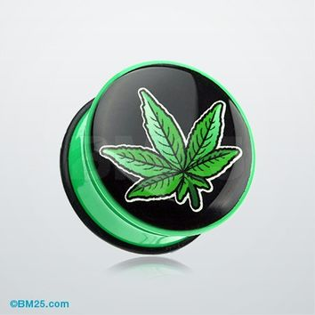 Cannibis Weed Single Flared Ear Gauge Plug