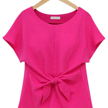 Short Sleeve Bowknot Chiffon Top