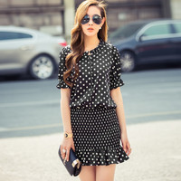 Polka Dot Half Sleeve Blouson Fishtail Mini Dress