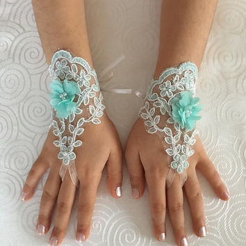 Flower Girl lace gloves mint  bridal gloves french lace for princess wedding gloves, mint ivory 3D flowers lace glove, Bridesmaid gloves