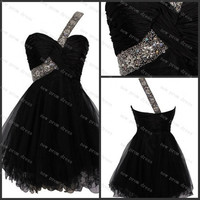 One shoulder tulle with crystal beads zipper back cocktail dress ,homecoming dress