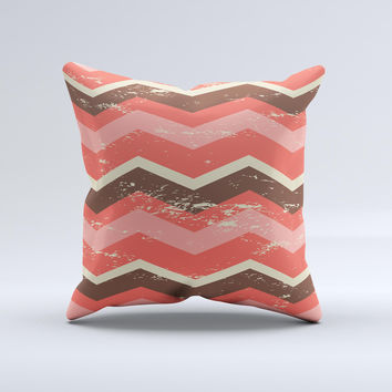 Coral & Brown Wide Chevron Pattern Vintage V1 Ink-Fuzed Decorative Throw Pillow