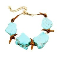 Knotted Suede Turquoise Slab Bracelet