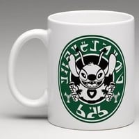 Starbucks Disney Inspired Lilo and Stitch Alien Writing Coffee Mug Tea Cup