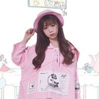Pink Fairy Kei patches hooded jacket