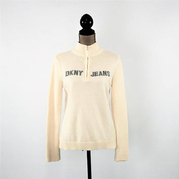 Cream Sweater Women Medium Off White Pullover DKNY Cotton Half Zip Winter White Sweater Cream Pullover Mock Neck Ribbed Knit Womens Clothing
