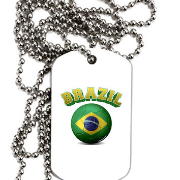 Soccer Ball Flag - Brazil Adult Dog Tag Chain Necklace