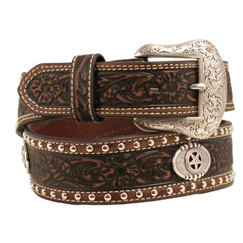 Nocona Western Belt Mens Star Conchos Leather 46 Brown