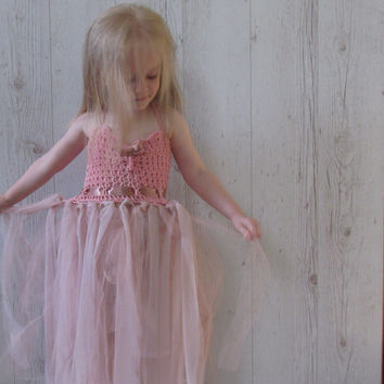 Dusty rose flower girl dress, girls tutu dress, crochet tutu dress, toddler dress, baby dress, elegant tutu dress, tulle dress