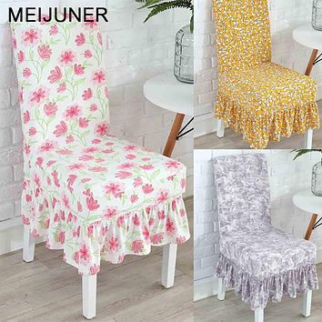 Meijuner Ruffled Floral Printing Chair Covers Spandex For Wedding Dining Office Banquet Stretch Elastic Flounced coverings MJ010