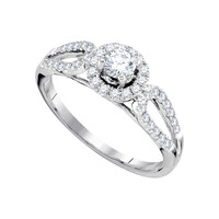 Diamond Bridal Ring with 0.25ct Center Round Stone in 14k White Gold 0.5 ctw