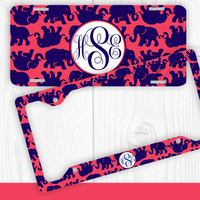 Navy Red Elephant Monogram License Plate Frame Holder Metal Wall Sign Tags Personalized Custom Vanity Country Girl