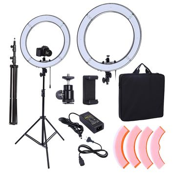 Camera Photo Studio Phone Video 18inch 55W 240PCS LED Ring Light 5500K Photography Dimmable Flash Ring Lamp With 200CM Tripod