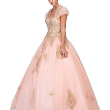 Blush Strapless Appliqued Quinceanera Dress with Bolero