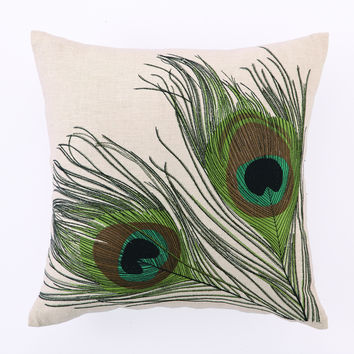 Double Peacocks Pillow 16X16""