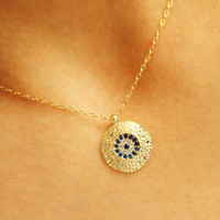 Evil eye necklace, gold evil eye jewelry, turkish eye necklace, gem stone necklace, zircon accessories, traditional arabic kaballah jewelry