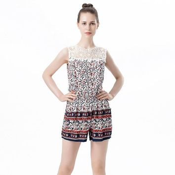 [10702] Women Summer Printed Filigree Lace Sleeveless Hollow Jumpsuits