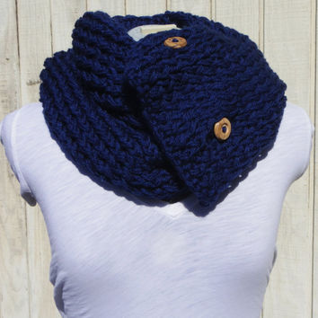 Navy Blue Knit Button Chunky Infinity Scarf by AquaGiraffe on Etsy