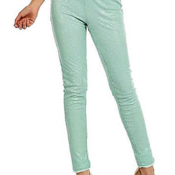 Sequin Pants - Mint