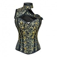 ND-196 - Military Inspired Gold and Black Brocade Corset
