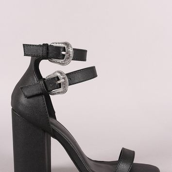 Wild Diva Lounge Etched Buckled Strap Chunky Heel