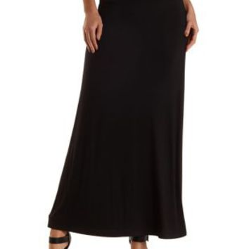 Black High-Waisted Knit Maxi Skirt by Charlotte Russe