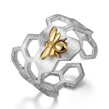 Lotus Fun S925 Sterling Silver Rings Handmade Unique Thumb Ring Natural Open Honeycomb Bee Jewelry Gift for Women and Girls