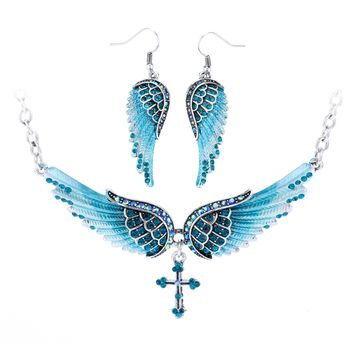 Angel wing cross necklace earrings sets women biker jewelry birthday gifts for women her wife mom girlfriend dropshipping NENC01
