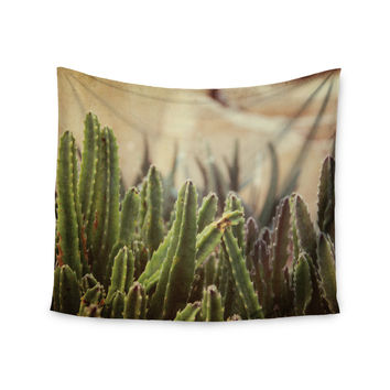 "Jillian Audrey ""Green Grass Cactus"" Green Brown Wall Tapestry"