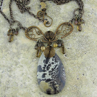 Brass Wire Wrapped Necklace Pendant Brown Chunky Handmade Jewelry