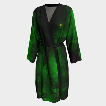 Peignoir Robe Green Cloud Print