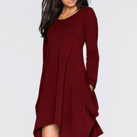2016 Autumn Winter Irregular Solid color Round neck Long sleeves Pocket Dresses