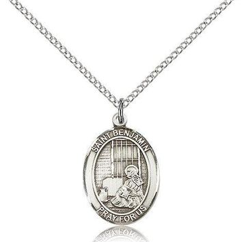 """Saint Benjamin Medal For Women - .925 Sterling Silver Necklace On 18"""" Chain -... 617759457575"""