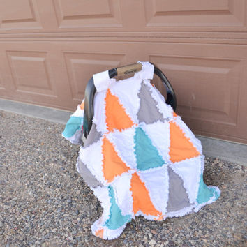 Car Seat Tent Triangles, Orange, Gray, Turquoise Baby Blanket, Crib Size Quilt Made to Order