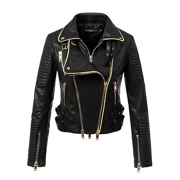 Women motorcyle jacket faux leather biker jackets jaqueta de couro feminina Streetwear hot sale Slim fit drop suede high quality