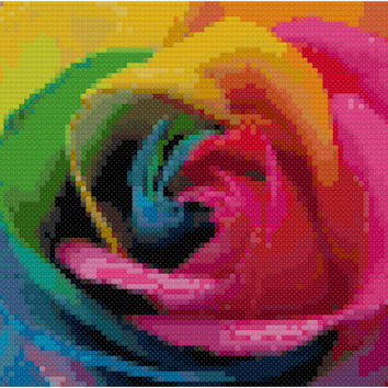 Rainbow Rose Instant Download Counted Cross Stitch Pattern Free Shipping PDF Point De Croix