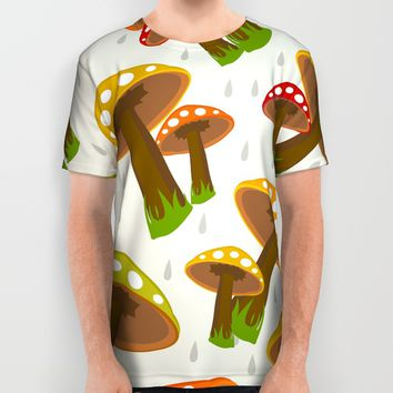 Retro Mushrooms All Over Print Shirt by Elizabeth Andersson