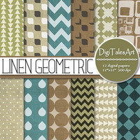 "Geometric linen digital paper ""Linen Geometric"", scrapbook, linen background, clipart pattern, chevron, drop, invitations, cards, collage"