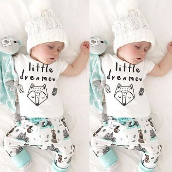 Pudcoco Baby Clothes US Cute Newborn Baby Boy Girls T-shirt Tops+Floral Pant 2PCS Clothes Outfits