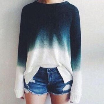 Blue/Ivory Ombre Fade Sweater