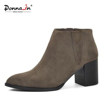 Donna-in pointed toe thick heel ankle boots kid suede  classic chelsea boots genuine leather high heel women boots