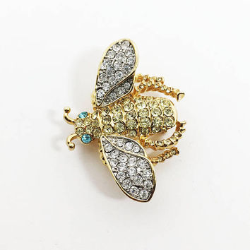 Vintage 1980s Rhinestone Bug Pin, Designer Signed KJL for AVON Insect Brooch, Clear Yellow Green Rhinestones, Gold Tone Fly Jewelry