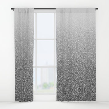 Ombre black and white swirls doodles Window Curtains by Savousepate