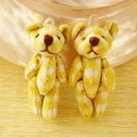 Teddy Bear Doll charms cab 2pcs  Yellow and White by CharmTape